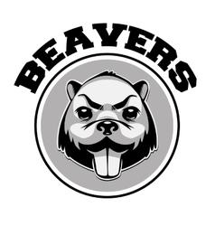 Beaver logo black and white head vector image vector image