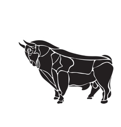 Black and white engrave isolated bull vector