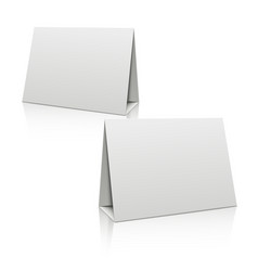 Blank white paper stand table holder card 3d vector