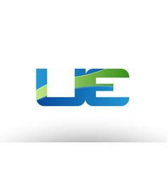 blue green ue u e alphabet letter logo vector image