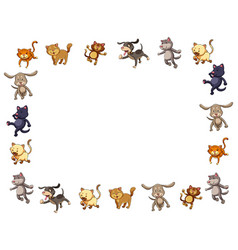 border template with cute cats and dogs vector image