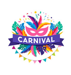 brazilian carnival banner with colorful elements vector image