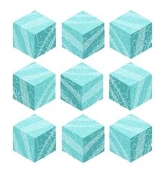 Cartoon Isometric ice game brick cubes set vector