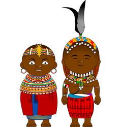 Cheerful african couple from kenya samburu vector