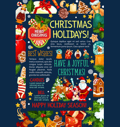 Christmas and new year poster template design vector