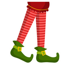 christmas elf legs in striped tights and boots vector image