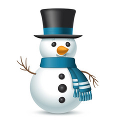 christmas snowman with top-hat and scarf vector image