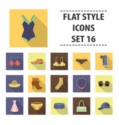 Clothes set icons in flat style big collection vector