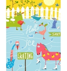 Colorful Fun Cartoon Farm Ice Skating Animals for vector image
