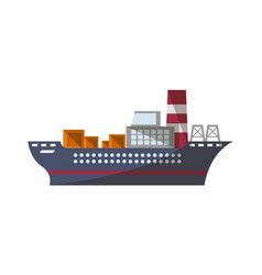 Container ship icon in flat design vector