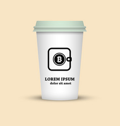 Cryptocurrency coffee cup with bitcoin wallet sign vector