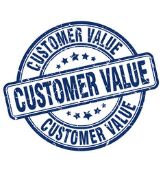 Customer value blue grunge stamp vector