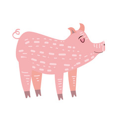 cute pig pig animal trend cartoon style vector image