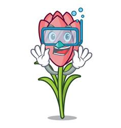 Diving crocus flower character cartoon vector