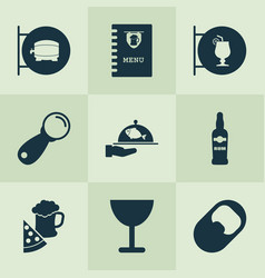 drink icons set with ale sign lever opener and vector image