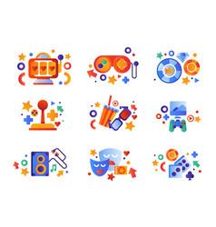 Entertainment symbols set slot machine game vector