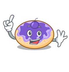 Finger donut blueberry mascot cartoon vector