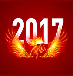 Fire rooster symbol of the new year by chinese vector