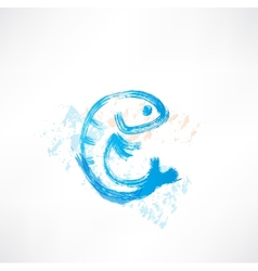 Fish blue grunge icon vector