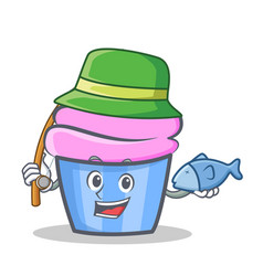 Fishing cupcake character cartoon style vector