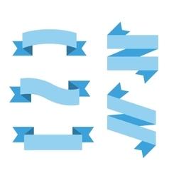 Flat ribbon labels set vector image
