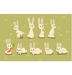flat set small bunny in different poses vector image