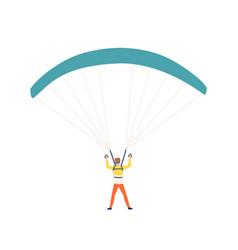 funny colorful man enjoying parachuting sport vector image