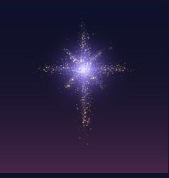 Glittering bethlehem star on dark background vector