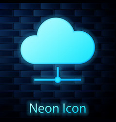 Glowing neon network cloud connection icon vector