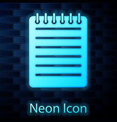 glowing neon notebook icon isolated on brick wall vector image