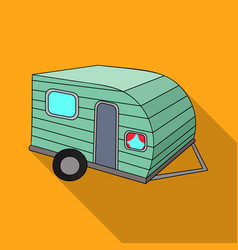 Green caravan icon in flat style isolated on white vector