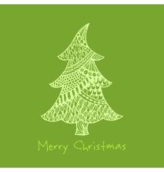 Greeting card with hand drawn entangle christmas vector