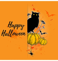 Halloween background with silhouette of owl vector