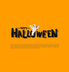 Halloween design with ghost isolated on yellow vector