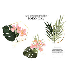Hand drawn watercolor exotic plants set realistic vector