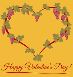 happy valentine day a floral heart leaf and grape vector image