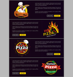 Hot italian pizza fast delivery web pages set vector