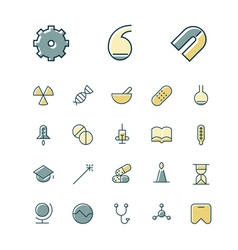 Icons thin blue science medical vector