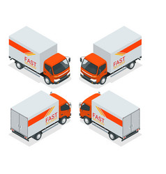 isometric cargo truck transportation fast vector image