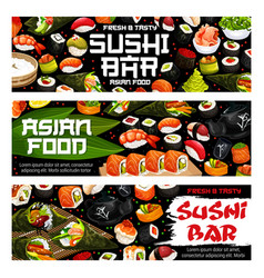 Japanese sushi bar rolls maki and sashimi dishes vector