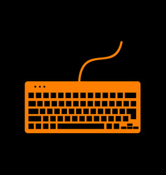 keyboard simple sign orange icon on black vector image