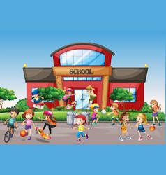 Kids outside front school vector