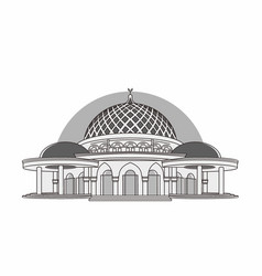Lampung capital mosque grayscale vector