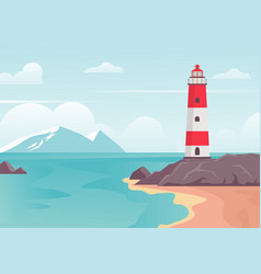 lighthouse in bay on beach lighthouse tower on vector image
