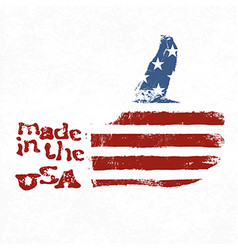 Made in the usa thumb up gesture symbol american vector