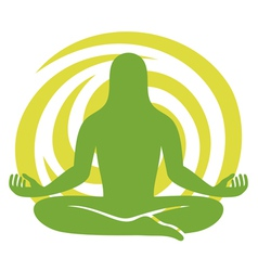Man figure meditating symbol vector