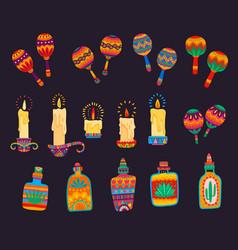 mexican cartoon maracas candles tequila bottles vector image