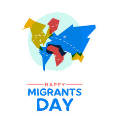 migrant day world map card for global migration vector image