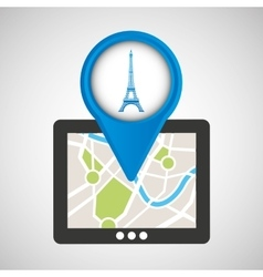 Mobile device paris gps map vector