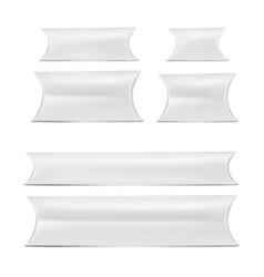 Mock up white set pillow box vector
